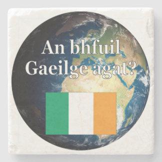 Do you speak Irish? in Irish. Flag & Earth Stone Coaster