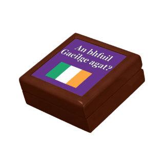 Do you speak Irish? in Irish. Flag Trinket Box