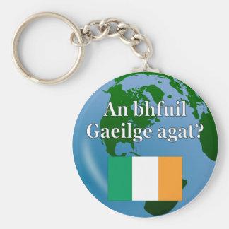Do you speak Irish? in Irish. Flag & globe Keychain