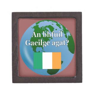 Do you speak Irish? in Irish. Flag & globe Premium Trinket Boxes