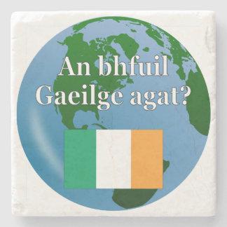 Do you speak Irish? in Irish. Flag & globe Stone Coaster