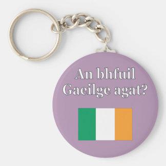Do you speak Irish? in Irish. Flag Keychain