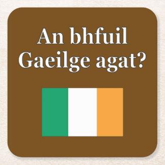 Do you speak Irish? in Irish. Flag Square Paper Coaster
