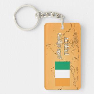 Do you speak Irish? in Irish. Flag wf Keychain