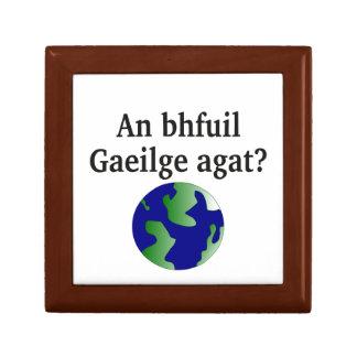 Do you speak Irish? in Irish. With globe Jewelry Boxes
