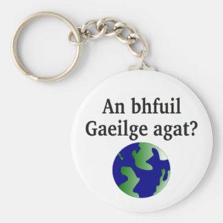 Do you speak Irish? in Irish. With globe Keychain
