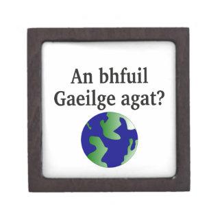 Do you speak Irish? in Irish. With globe Premium Trinket Box
