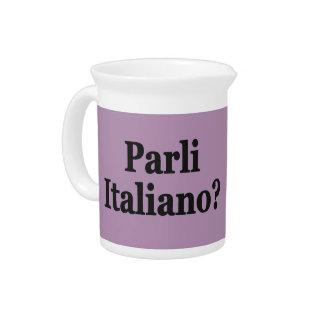 Do you speak Italian? in Italian. Flag bf Drink Pitcher