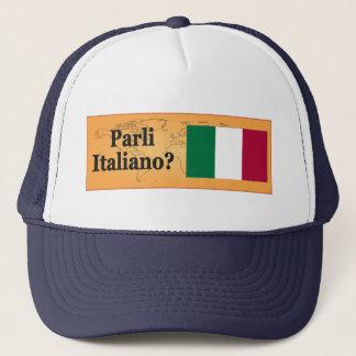 Do you speak Italian? in Italian. Flag bf Trucker Hat