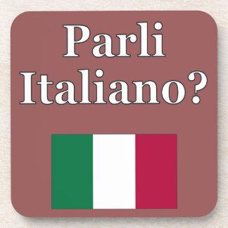 Do you speak Italian? in Italian. Flag Drink Coaster