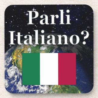 Do you speak Italian? in Italian. Flag & Earth Drink Coaster