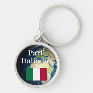 Do you speak Italian? in Italian. Flag & Earth Key Chains