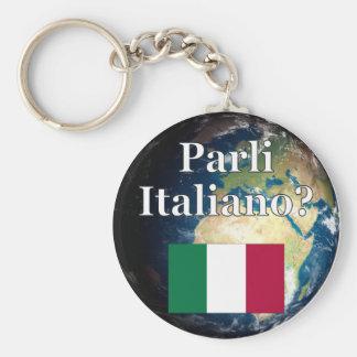 Do you speak Italian? in Italian. Flag & Earth Keychains