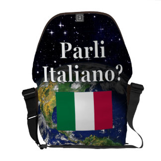 Do you speak Italian? in Italian. Flag & Earth Messenger Bag