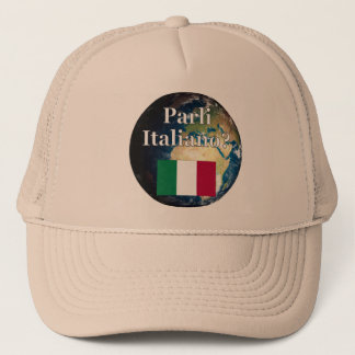 Do you speak Italian? in Italian. Flag & Earth Trucker Hat