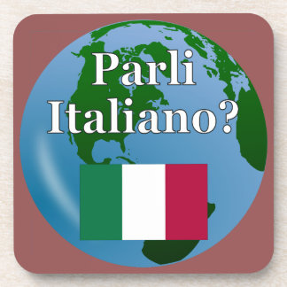 Do you speak Italian? in Italian. Flag & globe Coaster