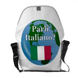 Do you speak Italian? in Italian. Flag & globe Courier Bag