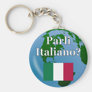 Do you speak Italian? in Italian. Flag & globe Keychains