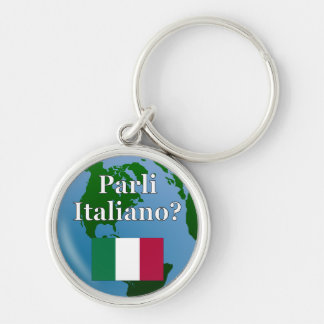 Do you speak Italian? in Italian. Flag & globe Key Chain