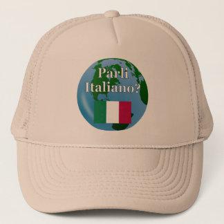 Do you speak Italian? in Italian. Flag & globe Trucker Hat