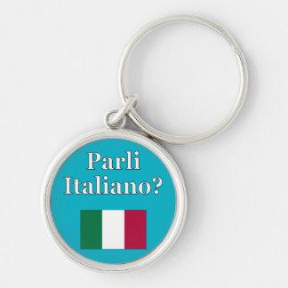 Do you speak Italian? in Italian. Flag Keychain