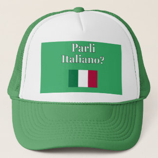 Do you speak Italian? in Italian. Flag Trucker Hat