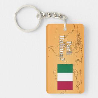 Do you speak Italian? in Italian. Flag wf Rectangle Acrylic Keychain