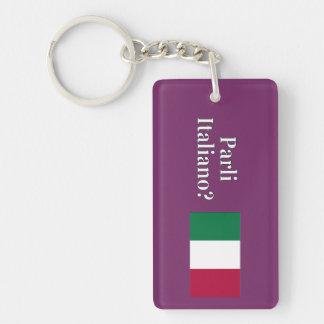 Do you speak Italian? in Italian. Flag wf Keychain