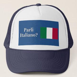 Do you speak Italian? in Italian. Flag wf Trucker Hat