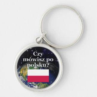 Do you speak Polish? in Polish. Flag & Earth Keychain