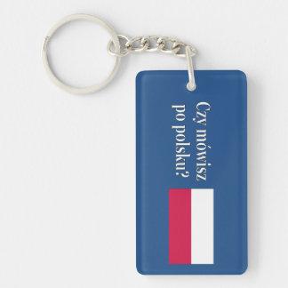 Do you speak Polish? in Polish. Flag wf Rectangle Acrylic Key Chains