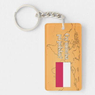 Do you speak Polish? in Polish. Flag wf Rectangle Acrylic Keychain