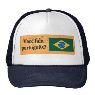 Do you speak Portuguese? in Portuguese. Flag bf Trucker Hat