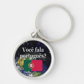 Do you speak Portuguese? in Portuguese. Flag earth Keychain