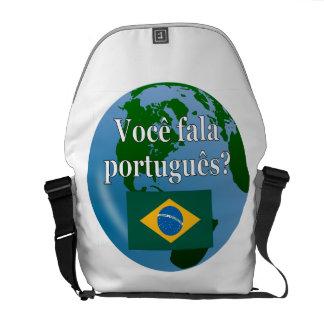Do you speak Portuguese? in Portuguese. Flag globe Courier Bag