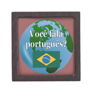 Do you speak Portuguese? in Portuguese. Flag globe Keepsake Box