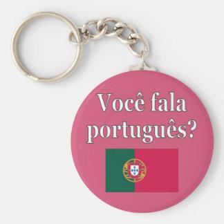 Do you speak Portuguese? in Portuguese. Flag Keychain
