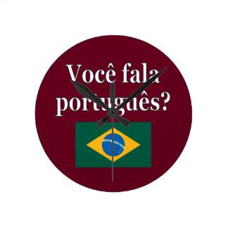 Do you speak Portuguese? in Portuguese. Flag Round Clock
