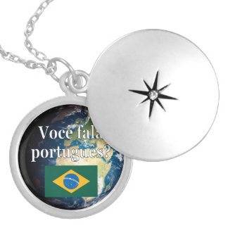 Do you speak Portuguese? Portuguese. Flag & Earth Locket Necklace