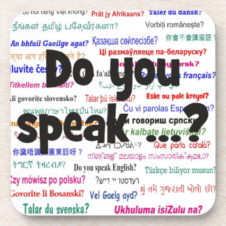 Do you speak ...? Question and background black Drink Coaster