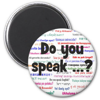 Do you speak ...? Question and background black Magnet