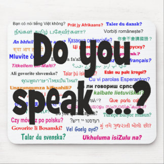 Do you speak ...? Question and background black Mouse Pad