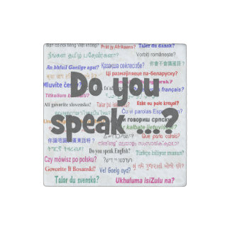 Do you speak ...? Question and background black Stone Magnet