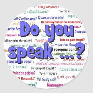Do you speak ...? Question and background blue Classic Round Sticker