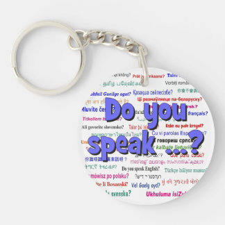 Do you speak ...? Question and background blue Keychain