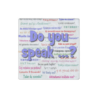 Do you speak ...? Question and background blue Stone Magnet