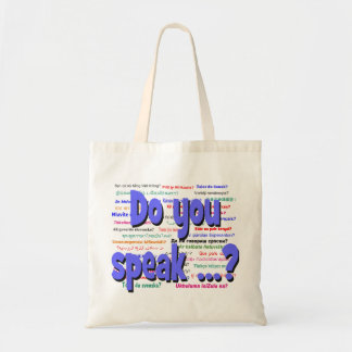 Do you speak ...? Question and background blue Tote Bag