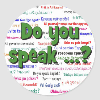 Do you speak ...? Question and background green Classic Round Sticker