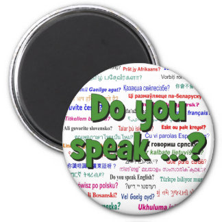 Do you speak ...? Question and background green Magnet