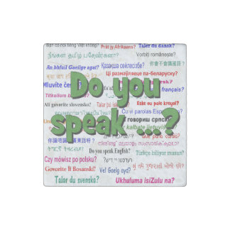 Do you speak ...? Question and background green Stone Magnet